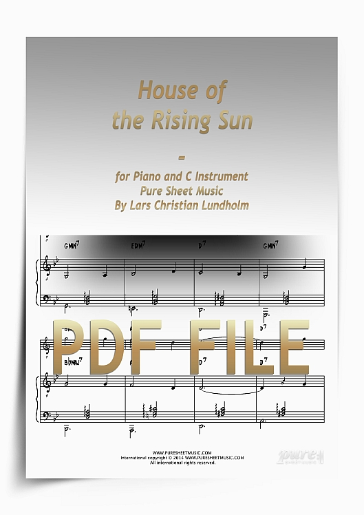Thumbnail House of the Rising Sun for Piano and C Instrument (PDF file), Pure Sheet Music arranged by Lars Christian Lundholm