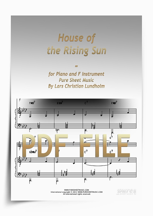 Thumbnail House of the Rising Sun for Piano and F Instrument (PDF file), Pure Sheet Music arranged by Lars Christian Lundholm