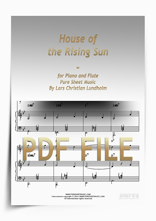 Thumbnail House of the Rising Sun for Piano and Flute (PDF file), Pure Sheet Music arranged by Lars Christian Lundholm