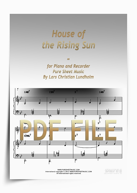 Thumbnail House of the Rising Sun for Piano and Recorder (PDF file), Pure Sheet Music arranged by Lars Christian Lundholm