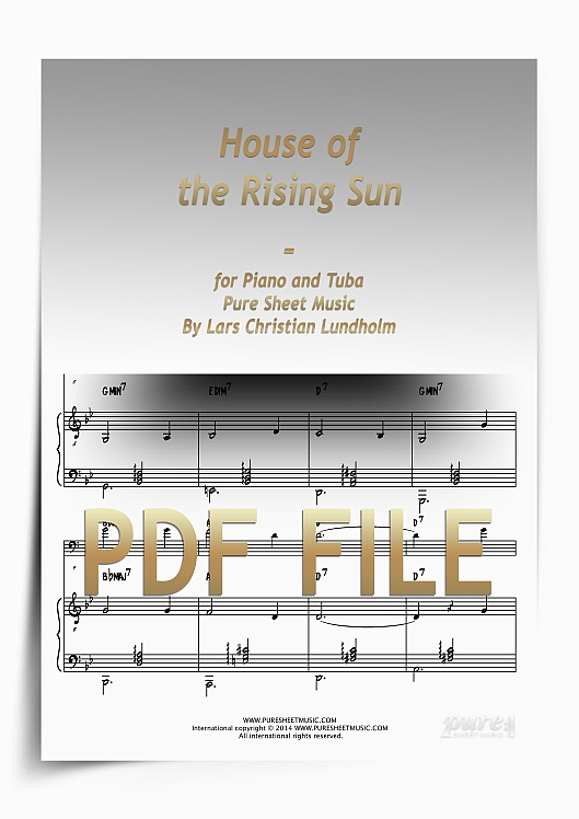 Thumbnail House of the Rising Sun for Piano and Tuba (PDF file), Pure Sheet Music arranged by Lars Christian Lundholm