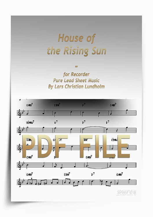 Thumbnail House of the Rising Sun for Recorder (PDF file), Pure Sheet Music arranged by Lars Christian Lundholm