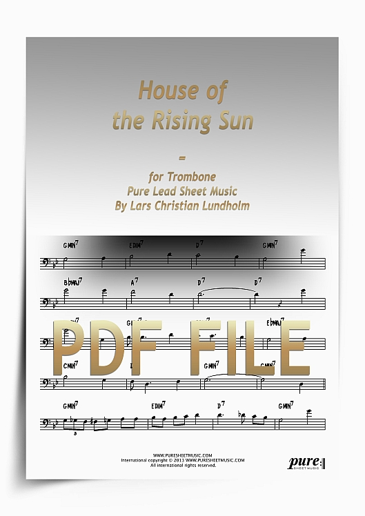 Thumbnail House of the Rising Sun for Trombone (PDF file), Pure Sheet Music arranged by Lars Christian Lundholm