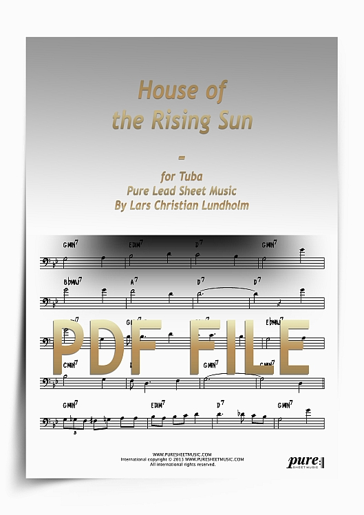 Thumbnail House of the Rising Sun for Tuba (PDF file), Pure Sheet Music arranged by Lars Christian Lundholm