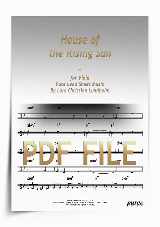 Thumbnail House of the Rising Sun for Viola (PDF file), Pure Sheet Music arranged by Lars Christian Lundholm