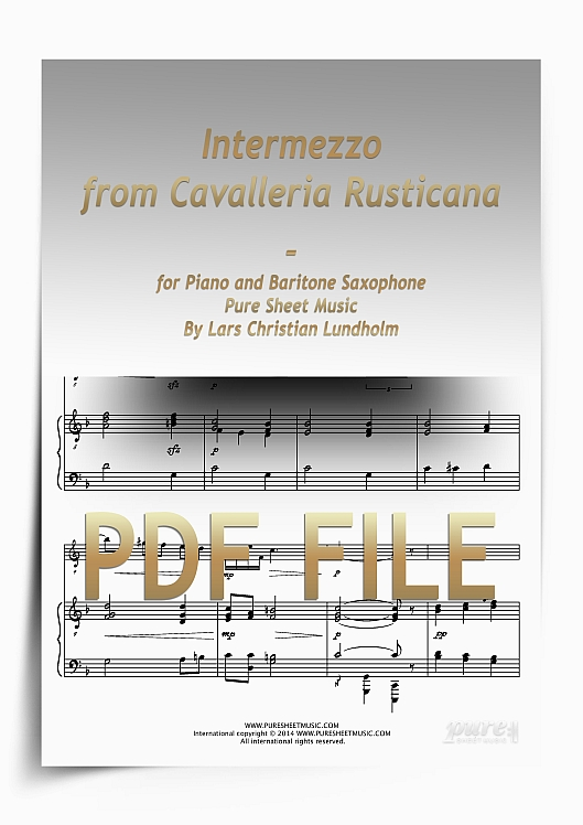 Thumbnail Intermezzo from Cavalleria Rusticana for Piano and Baritone Saxophone (PDF file), Pure Sheet Music arranged by Lars Christian Lundholm