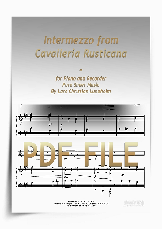 Thumbnail Intermezzo from Cavalleria Rusticana for Piano and Recorder (PDF file), Pure Sheet Music arranged by Lars Christian Lundholm