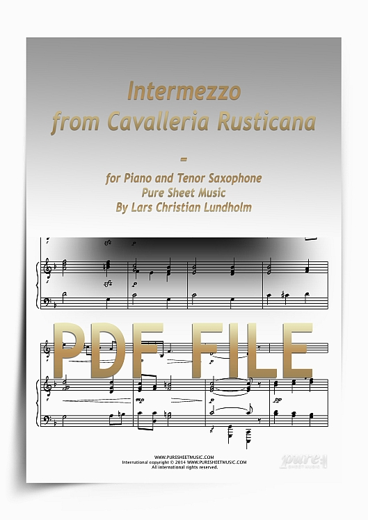 Thumbnail Intermezzo from Cavalleria Rusticana for Piano and Tenor Saxophone (PDF file), Pure Sheet Music arranged by Lars Christian Lundholm