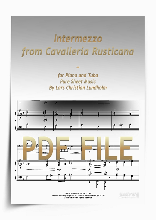 Thumbnail Intermezzo from Cavalleria Rusticana for Piano and Tuba (PDF file), Pure Sheet Music arranged by Lars Christian Lundholm
