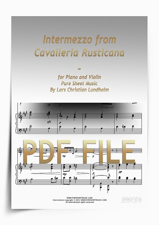 Thumbnail Intermezzo from Cavalleria Rusticana for Piano and Violin (PDF file), Pure Sheet Music arranged by Lars Christian Lundholm