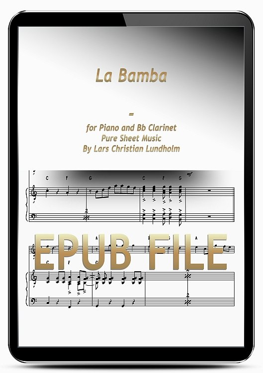 Thumbnail La Bamba for Piano and Bb Clarinet (EPUB file), Pure Sheet Music as Ebook arranged by Lars Christian Lundholm