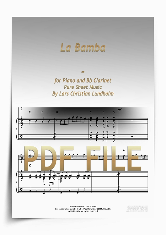 Thumbnail La Bamba for Piano and Bb Clarinet (PDF file), Pure Sheet Music arranged by Lars Christian Lundholm