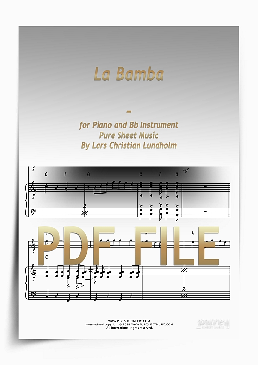 Thumbnail La Bamba for Piano and Bb Instrument (PDF file), Pure Sheet Music arranged by Lars Christian Lundholm