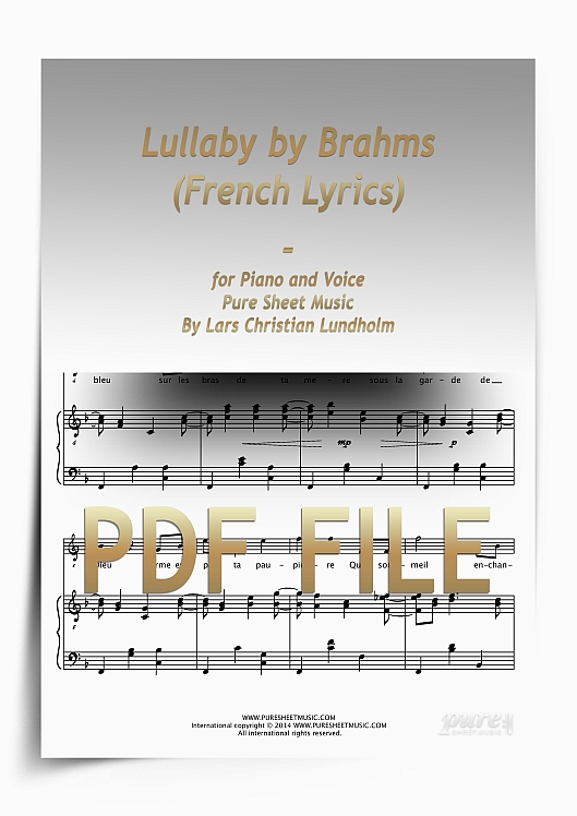 Thumbnail Lullaby by Brahms (French Lyrics) for Piano and Voice (PDF file), Pure Sheet Music arranged by Lars Christian Lundholm