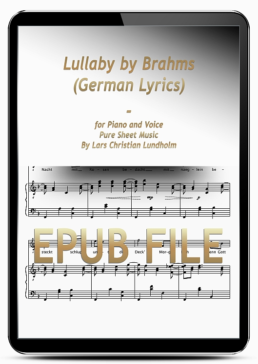 Thumbnail Lullaby by Brahms (German Lyrics) for Piano and Voice (EPUB file), Pure Sheet Music as Ebook arranged by Lars Christian Lundholm