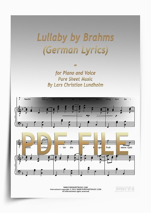 Thumbnail Lullaby by Brahms (German Lyrics) for Piano and Voice (PDF file), Pure Sheet Music arranged by Lars Christian Lundholm