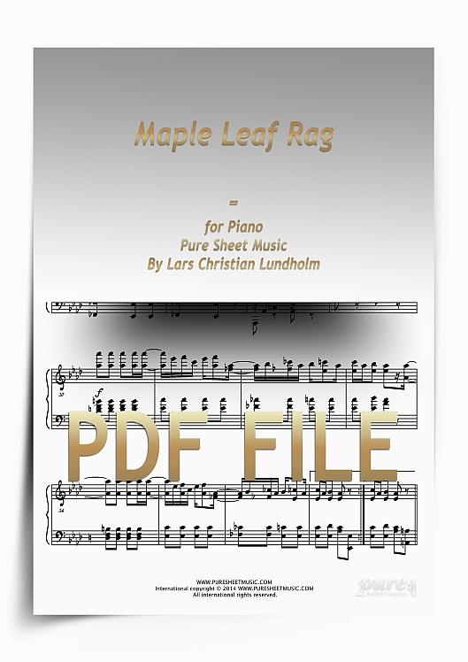 Thumbnail Maple Leaf Rag for Piano (PDF file), Pure Sheet Music arranged by Lars Christian Lundholm