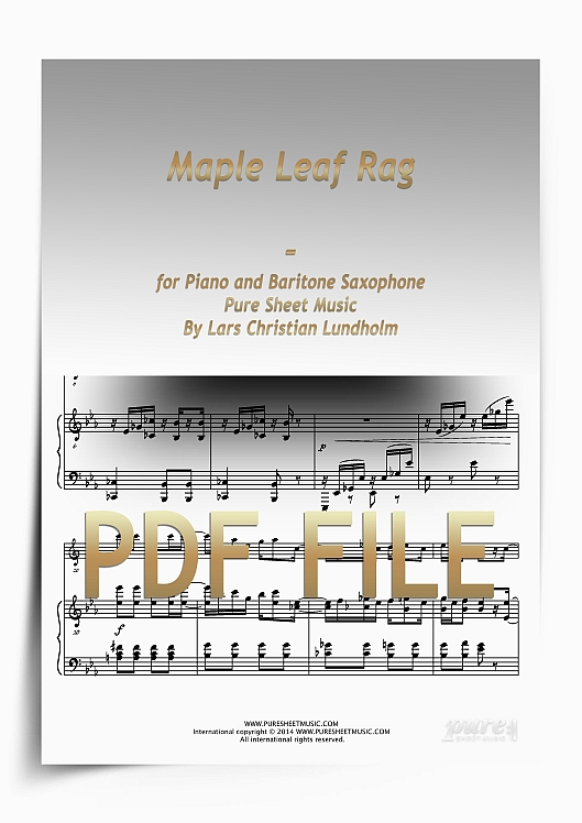 Thumbnail Maple Leaf Rag for Piano and Baritone Saxophone (PDF file), Pure Sheet Music arranged by Lars Christian Lundholm
