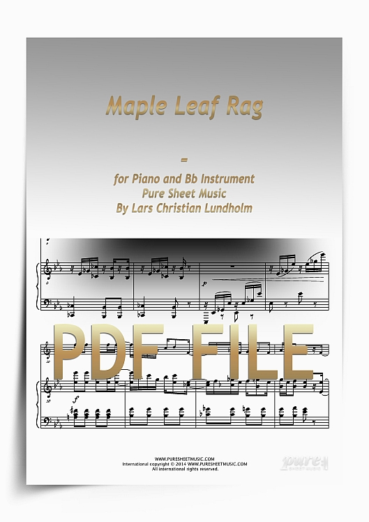 Thumbnail Maple Leaf Rag for Piano and Bb Instrument (PDF file), Pure Sheet Music arranged by Lars Christian Lundholm