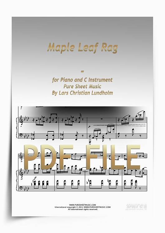 Thumbnail Maple Leaf Rag for Piano and C Instrument (PDF file), Pure Sheet Music arranged by Lars Christian Lundholm