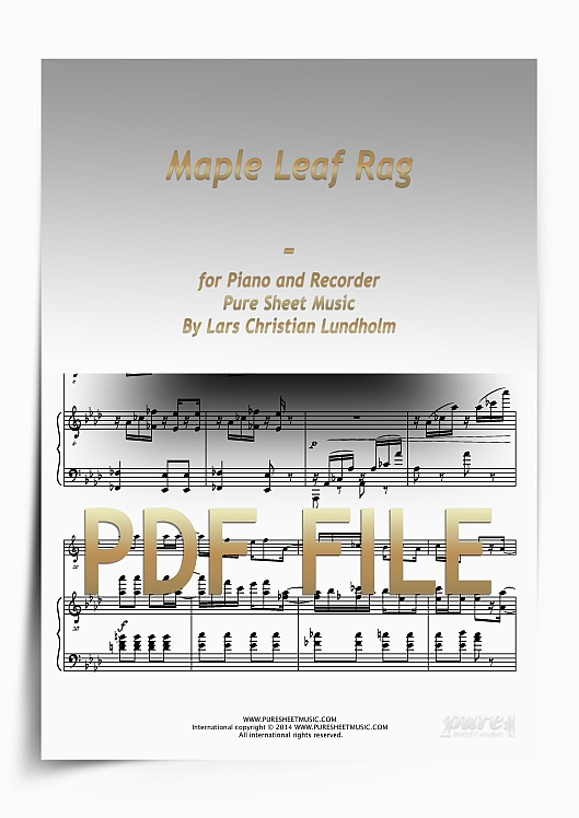 Thumbnail Maple Leaf Rag for Piano and Recorder (PDF file), Pure Sheet Music arranged by Lars Christian Lundholm