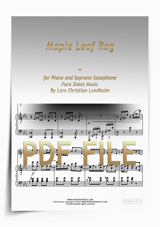 Thumbnail Maple Leaf Rag for Piano and Soprano Saxophone (PDF file), Pure Sheet Music arranged by Lars Christian Lundholm