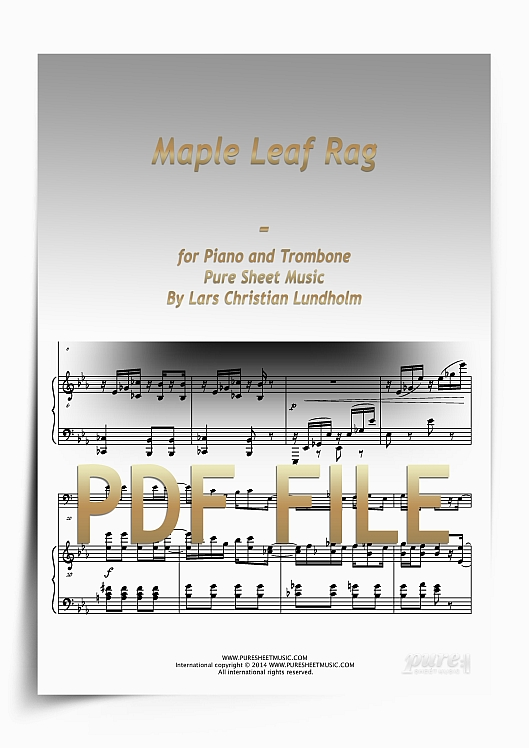 Thumbnail Maple Leaf Rag for Piano and Trombone (PDF file), Pure Sheet Music arranged by Lars Christian Lundholm