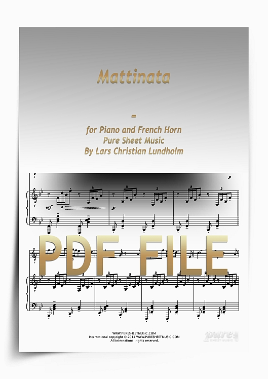 Thumbnail Mattinata for Piano and French Horn (PDF file), Pure Sheet Music arranged by Lars Christian Lundholm