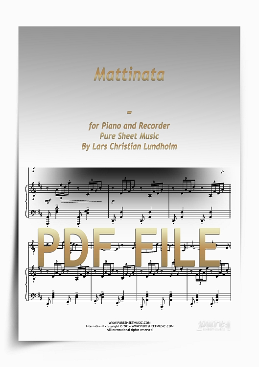 Thumbnail Mattinata for Piano and Recorder (PDF file), Pure Sheet Music arranged by Lars Christian Lundholm