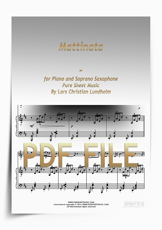 Thumbnail Mattinata for Piano and Soprano Saxophone (PDF file), Pure Sheet Music arranged by Lars Christian Lundholm