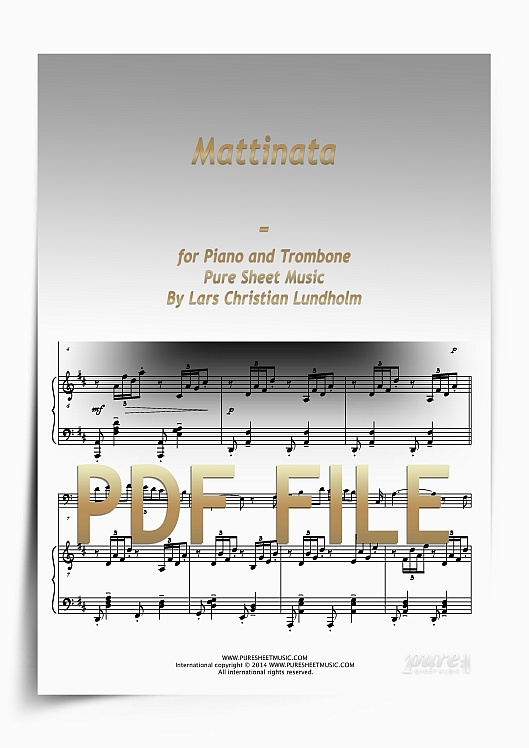 Thumbnail Mattinata for Piano and Trombone (PDF file), Pure Sheet Music arranged by Lars Christian Lundholm
