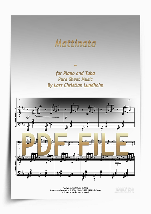 Thumbnail Mattinata for Piano and Tuba (PDF file), Pure Sheet Music arranged by Lars Christian Lundholm
