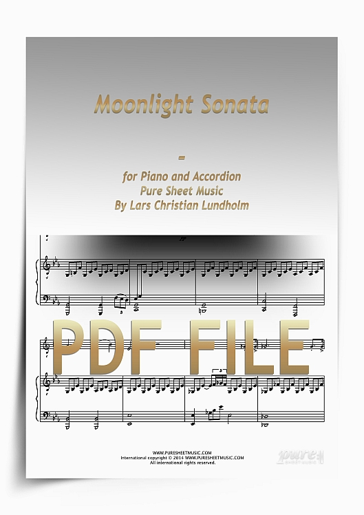 Thumbnail Moonlight Sonata for Piano and Accordion (PDF file), Pure Sheet Music arranged by Lars Christian Lundholm