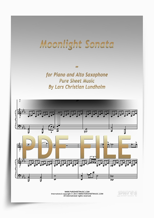 Thumbnail Moonlight Sonata for Piano and Alto Saxophone (PDF file), Pure Sheet Music arranged by Lars Christian Lundholm