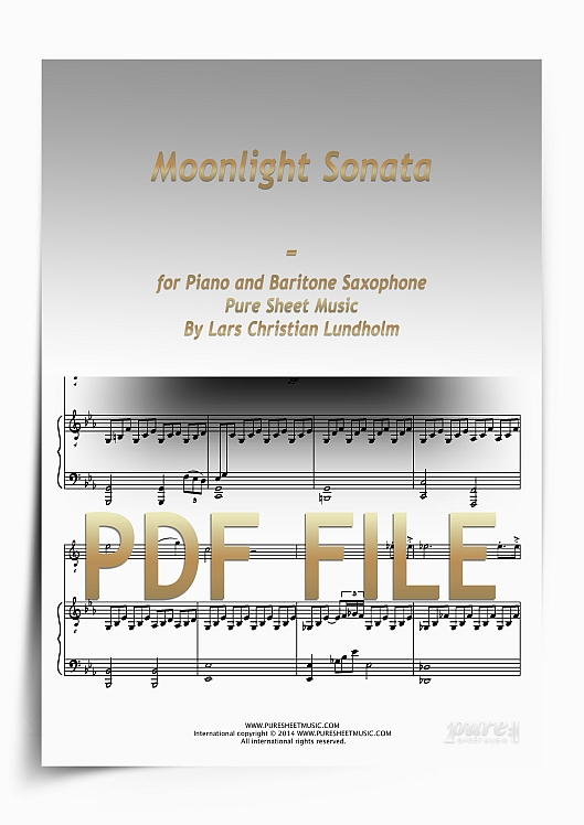Thumbnail Moonlight Sonata for Piano and Baritone Saxophone (PDF file), Pure Sheet Music arranged by Lars Christian Lundholm