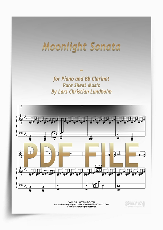 Thumbnail Moonlight Sonata for Piano and Bb Clarinet (PDF file), Pure Sheet Music arranged by Lars Christian Lundholm