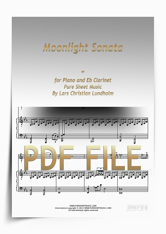 Thumbnail Moonlight Sonata for Piano and Eb Clarinet (PDF file), Pure Sheet Music arranged by Lars Christian Lundholm