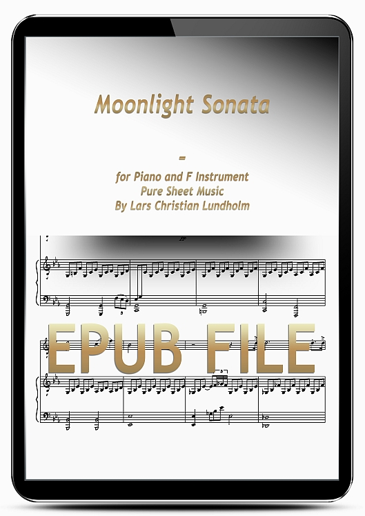 Thumbnail Moonlight Sonata for Piano and F Instrument (EPUB file), Pure Sheet Music as Ebook arranged by Lars Christian Lundholm