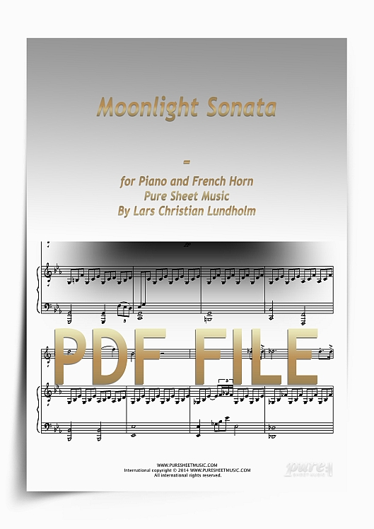 Thumbnail Moonlight Sonata for Piano and French Horn (PDF file), Pure Sheet Music arranged by Lars Christian Lundholm