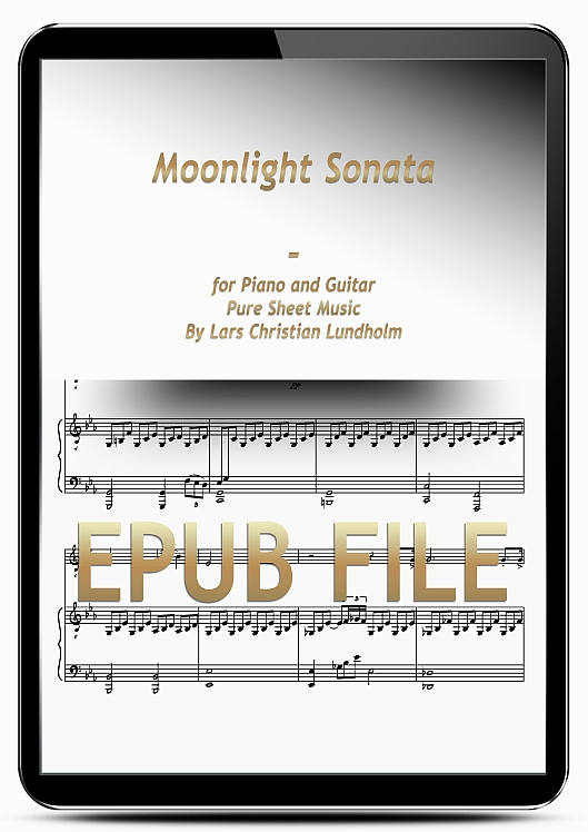 Thumbnail Moonlight Sonata for Piano and Guitar (EPUB file), Pure Sheet Music as Ebook arranged by Lars Christian Lundholm
