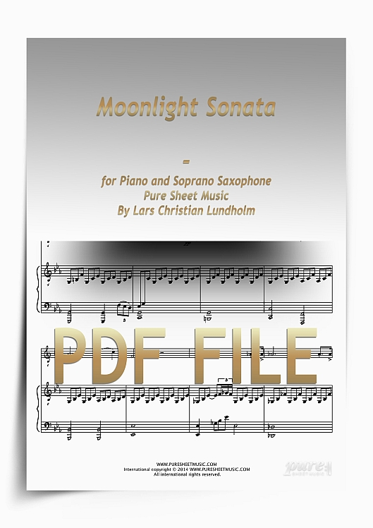 Thumbnail Moonlight Sonata for Piano and Soprano Saxophone (PDF file), Pure Sheet Music arranged by Lars Christian Lundholm