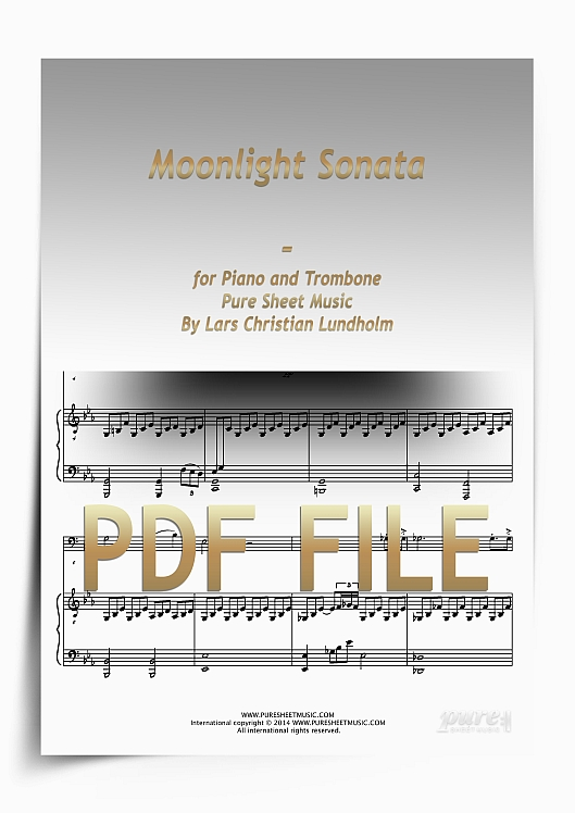 Thumbnail Moonlight Sonata for Piano and Trombone (PDF file), Pure Sheet Music arranged by Lars Christian Lundholm