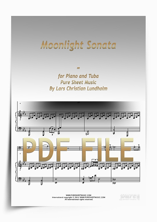 Thumbnail Moonlight Sonata for Piano and Tuba (PDF file), Pure Sheet Music arranged by Lars Christian Lundholm