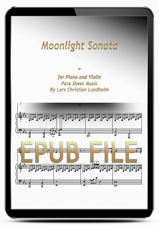 Thumbnail Moonlight Sonata for Piano and Violin (EPUB file), Pure Sheet Music as Ebook arranged by Lars Christian Lundholm