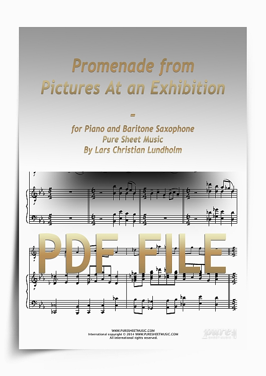 Thumbnail Promenade from Pictures At an Exhibition for Piano and Baritone Saxophone (PDF file), Pure Sheet Music arranged by Lars Christian Lundholm
