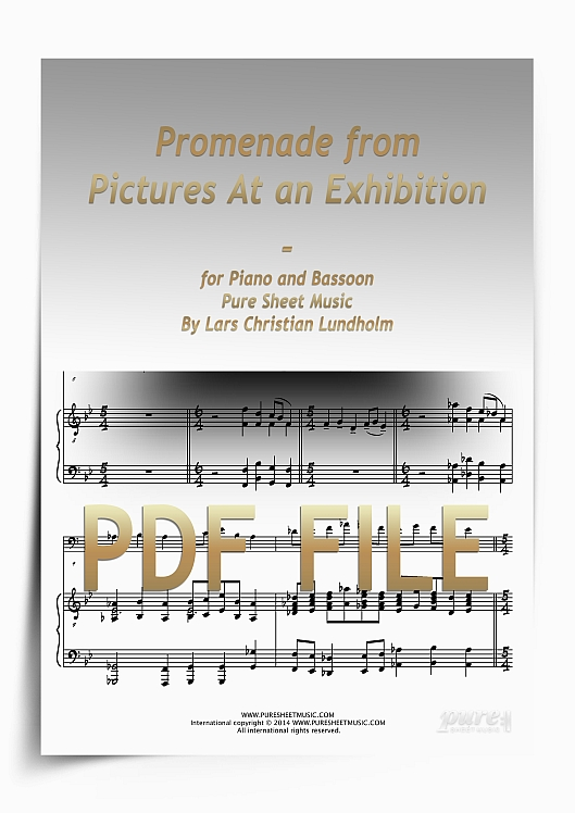 Thumbnail Promenade from Pictures At an Exhibition for Piano and Bassoon (PDF file), Pure Sheet Music arranged by Lars Christian Lundholm