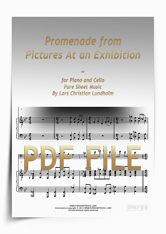 Thumbnail Promenade from Pictures At an Exhibition for Piano and Cello (PDF file), Pure Sheet Music arranged by Lars Christian Lundholm