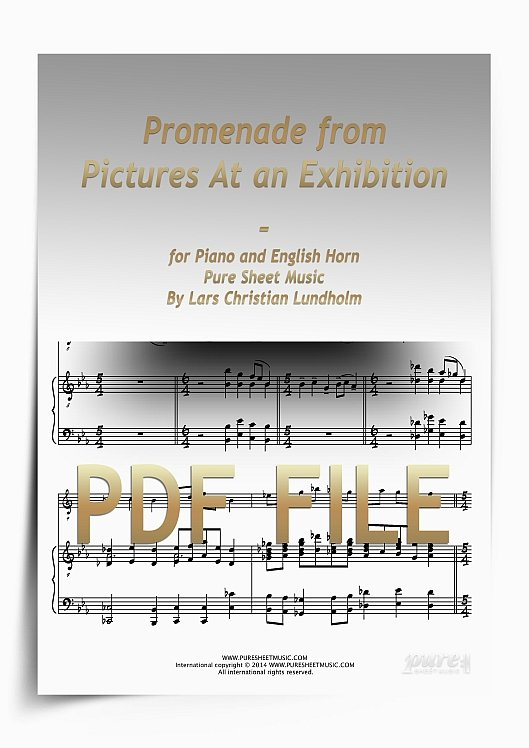 Thumbnail Promenade from Pictures At an Exhibition for Piano and English Horn (PDF file), Pure Sheet Music arranged by Lars Christian Lundholm