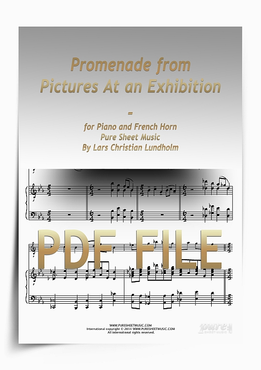 Thumbnail Promenade from Pictures At an Exhibition for Piano and French Horn (PDF file), Pure Sheet Music arranged by Lars Christian Lundholm