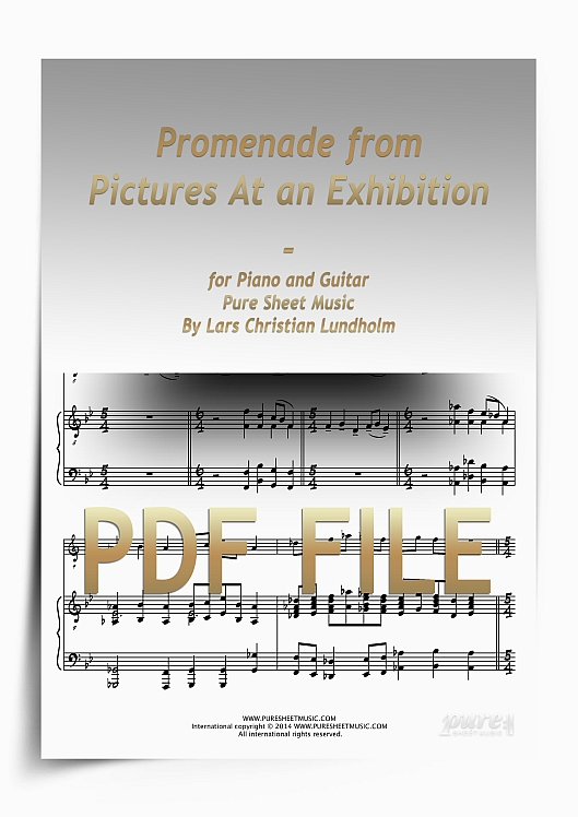 Thumbnail Promenade from Pictures At an Exhibition for Piano and Guitar (PDF file), Pure Sheet Music arranged by Lars Christian Lundholm